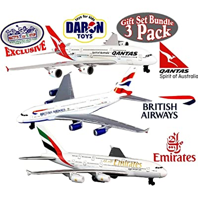 "Daron Emirates A380, Qantas A380 & British Airways A380 Die-cast Planes ""Matty's Toy Stop"" Exclusive Gift Set Bundle - 3 Pack: Toys & Games"