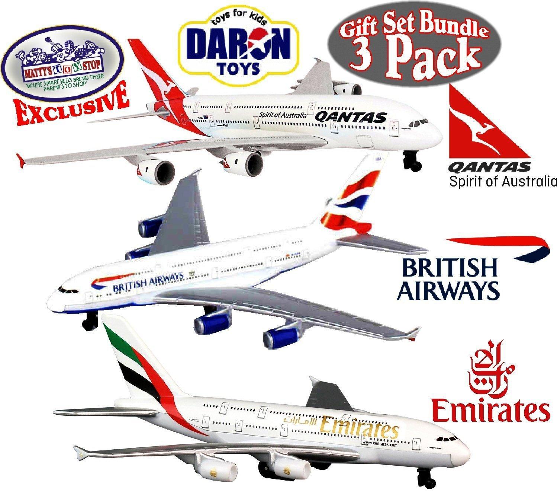 Daron Emirates A380, Qantas A380 & British Airways A380 Die-cast Planes ''Matty's Toy Stop'' Exclusive Gift Set Bundle - 3 Pack