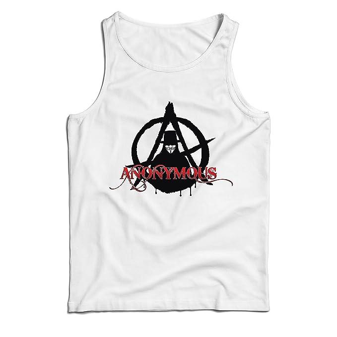 lepni.me Camisetas de Tirantes para Hombre The Anonymous Hacktivist Mask - Anarchic, Cerebro Global digitalizado: Amazon.es: Ropa y accesorios