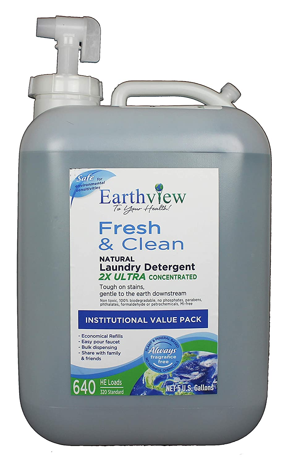 Earthview Laundry Detergent, Fragrance Free, 5 Gallon Bulk Institutional Value Pack- Designed for Environmental Sensitivities (MCS, EI, MI)