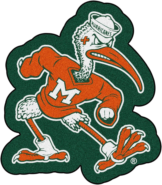 FANMATS NCAA University of Miami Hurricanes Nylon Face Mascot Rug