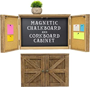 Wooden Rustic Magnetic Chalkboard: Wall Mounted Entryway Cabinet Includes Cork Board and Erasable Chalk Board Organizer Display Shelf and Key Hooks (Brown)