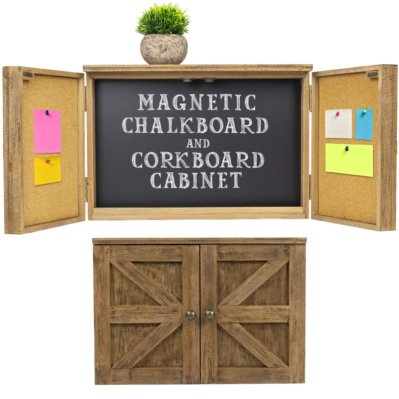 Wooden Rustic Magnetic Chalkboard: Wall Mounted Entryway Cabinet Includes Cork Board and Erasable Chalk Board Organizer Display Shelf and Key Hooks (Brown) by Excello Global Products