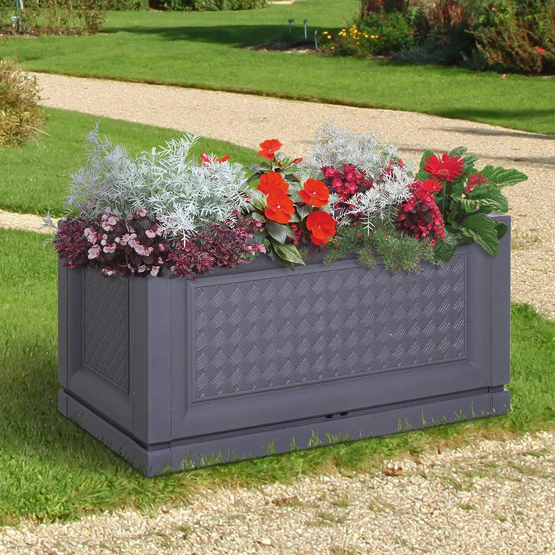 Outsunny Maceta para Flores Jardinera Pl/ástica Rectangular con Agujeros de Drenaje y Profundidad Extra 60x30x29 cm Gris