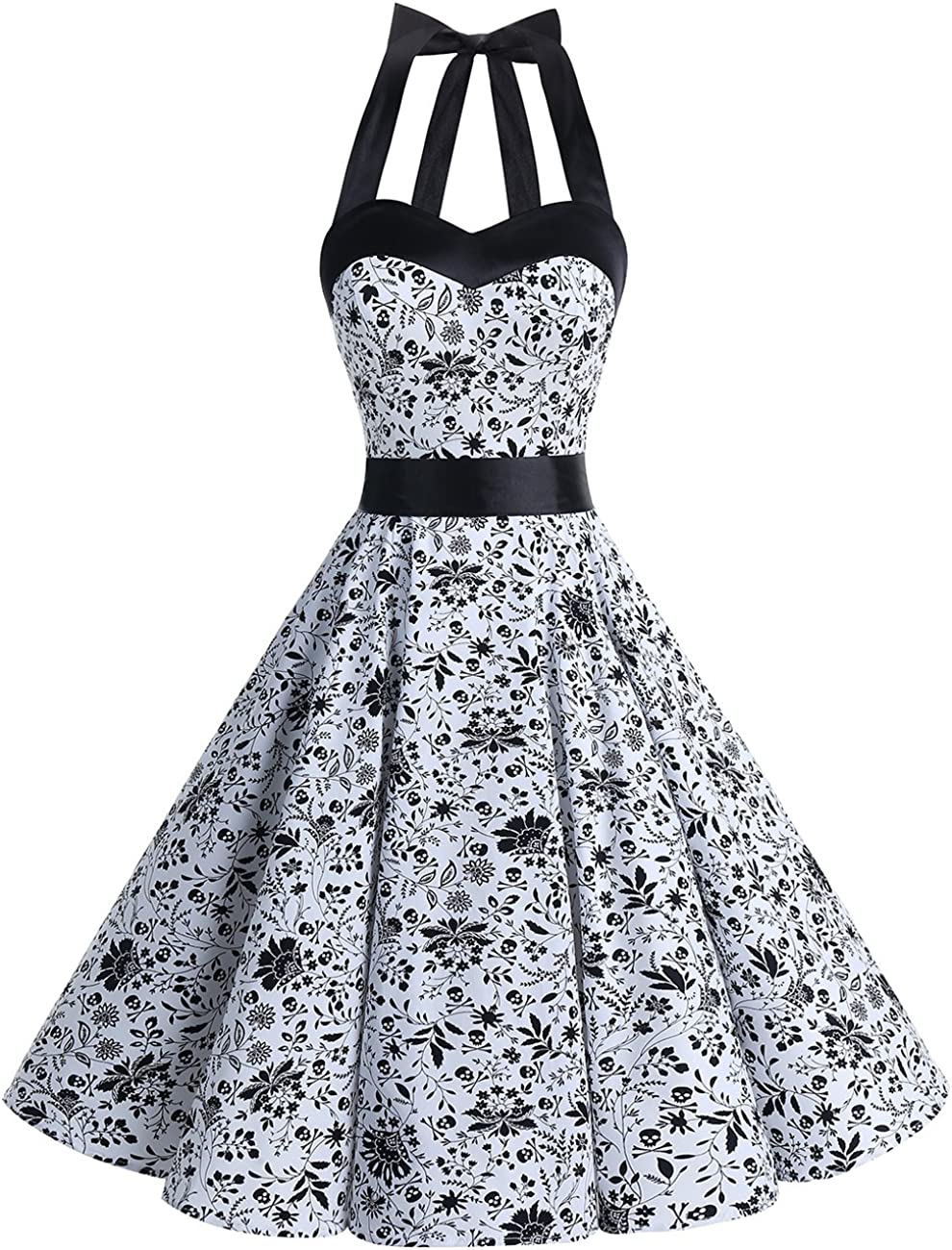TALLA M. DRESSTELLS® Halter 50s Rockabilly Polka Dots Audrey Dress Retro Cocktail Dress White Skull M