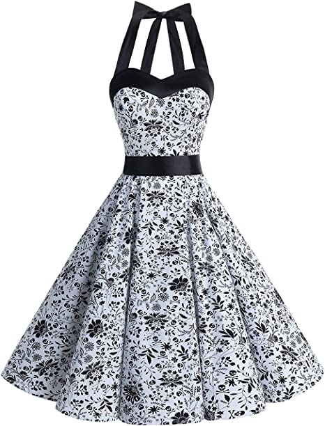 TALLA S. Dresstells® Halter 50s Rockabilly Polka Dots Audrey Dress Retro Cocktail Dress White Skull