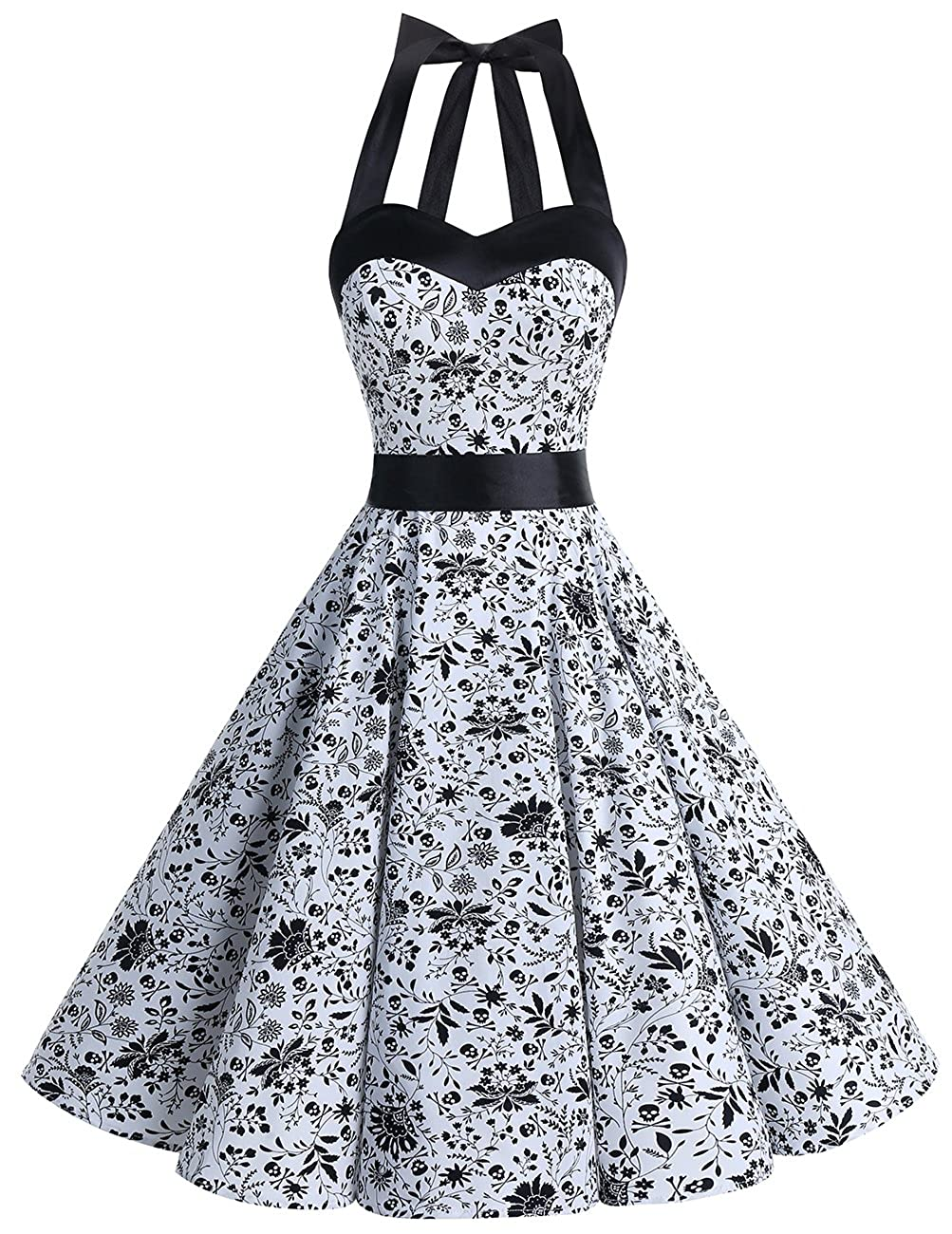 TALLA XL. Dresstells® Halter 50s Rockabilly Polka Dots Audrey Dress Retro Cocktail Dress White Skull XL
