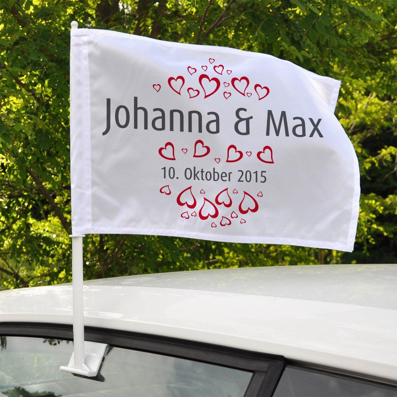 Herz /& Heim/® Autofahne zur Hochzeit mit Namen und Hochzeitsdatum