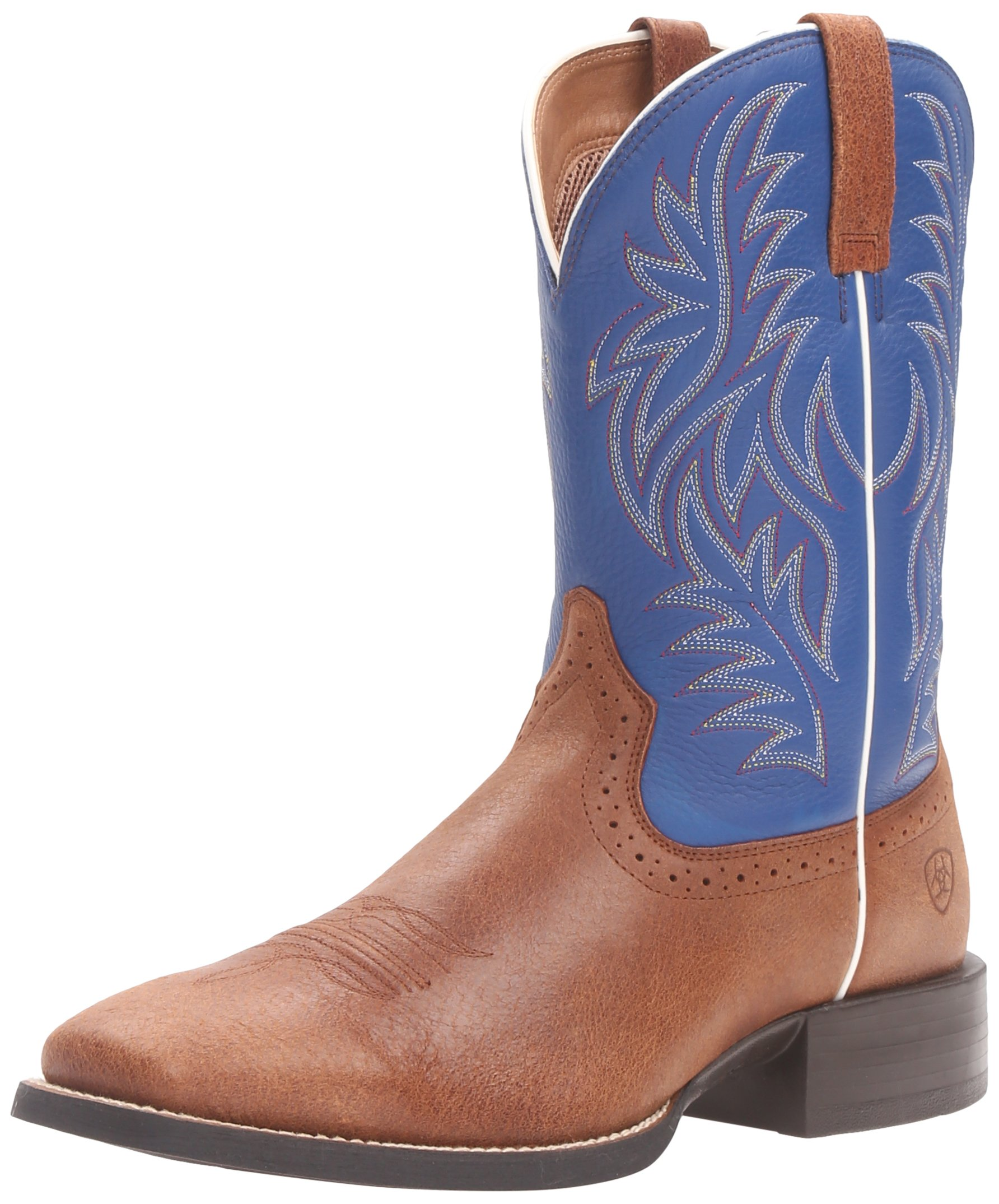 Ariat Men's Sport Western Cowboy Boot, Red Angus Brown/Royal, 10 2E US