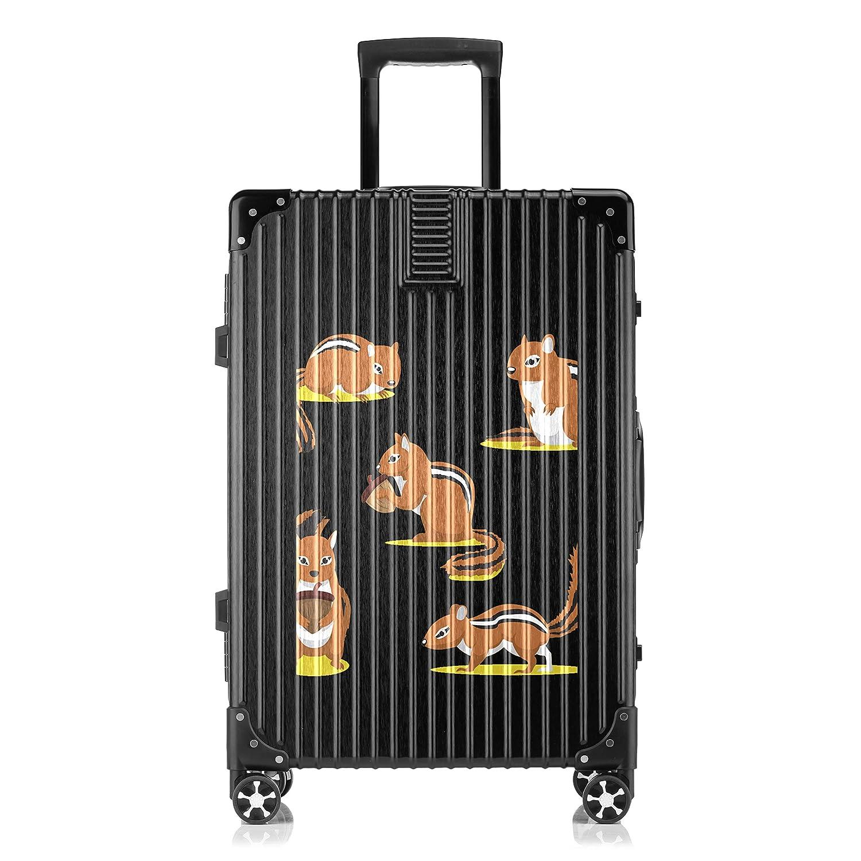 GSHCJ スーツケース かわいい動物 リス キャリーケース 20インチ おしゃれ ブラック Tsaロック搭載 プリント ハード 超軽量 軽い 機内持込 ロックファスナー 旅行 ビジネス 出張 海外 修学旅行 丈夫 便利 レディース メンズ 学生 B07S18QMVZ