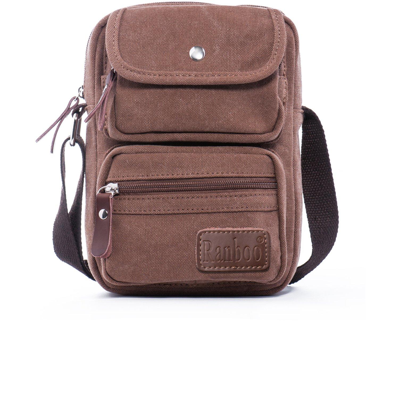 Ranboo Small Crossbody Bag 9.4'' Shoulder Bag Messenger Bag Carrying Case Day Bag Men Casual Travel Purse Briefcase Bag Canvas Satchel Bag Handbag Travel Hiking Outdoor Sports Office Work Bag Brown
