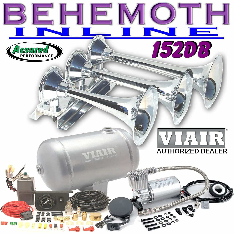 Amazon.com: BEHEMOTH-i Triple Trumpet Train Air Horn & VIAIR 150psi 275c  1Gal. Kit: Automotive