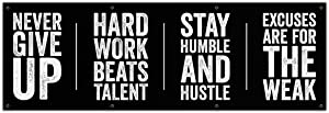 Motivational Quotes Banner - 72x24 Inches - Home Gym Decor - Garage Training - Inspirational Wall Vinyl