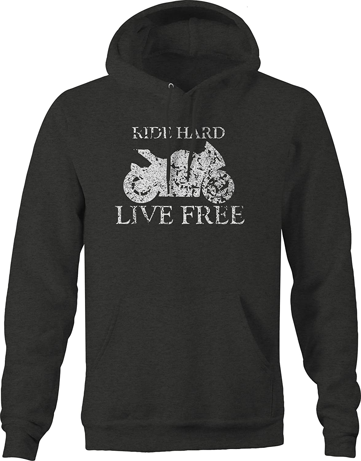 Vintage Motorcycle Ride Hard Live Free Street Sport Bike Graphic Hoodie for Men