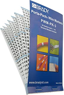 Brady WM-94-PK Repositionable Vinyl Cloth Solid Numbers Wire Marker Card 25 Cards B-500 Black on White