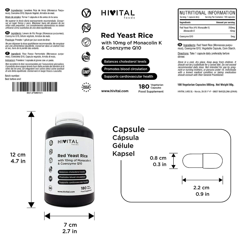 Levadura Roja de Arroz con 10 mg de Monacolina K y Coenzima Q10 | 180 cápsulas vegetales | Suministro para 6 meses | Regula los niveles de colesterol ...