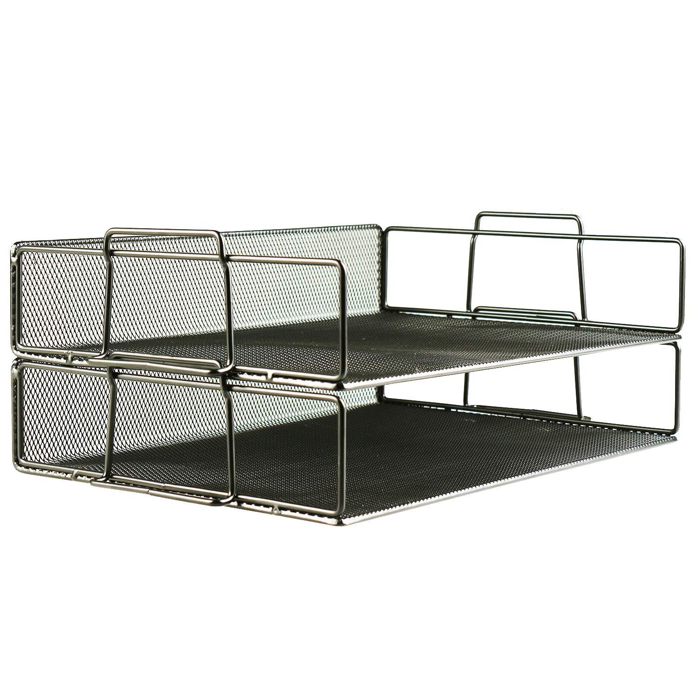 Xinyaoshi Desk Organizer, 2 Tier Stackable Desktop Document Letter Steel Mesh Tray (Black)