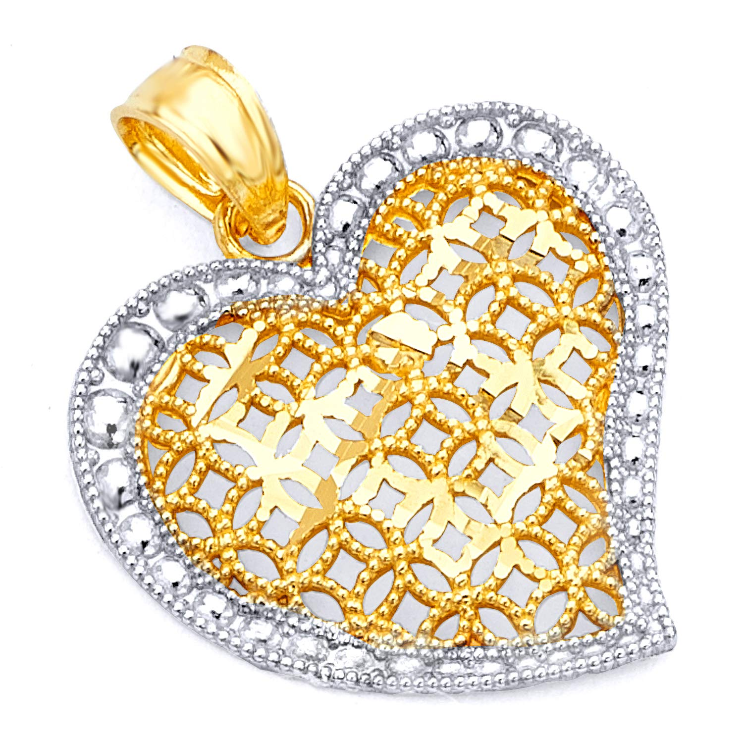 14k Two Tone Gold Heart Charm Pendant