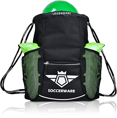 b9ce324b8a2 Amazon.com  Soccer Bag Backpack with Ball Holder Pocket for Boys ...