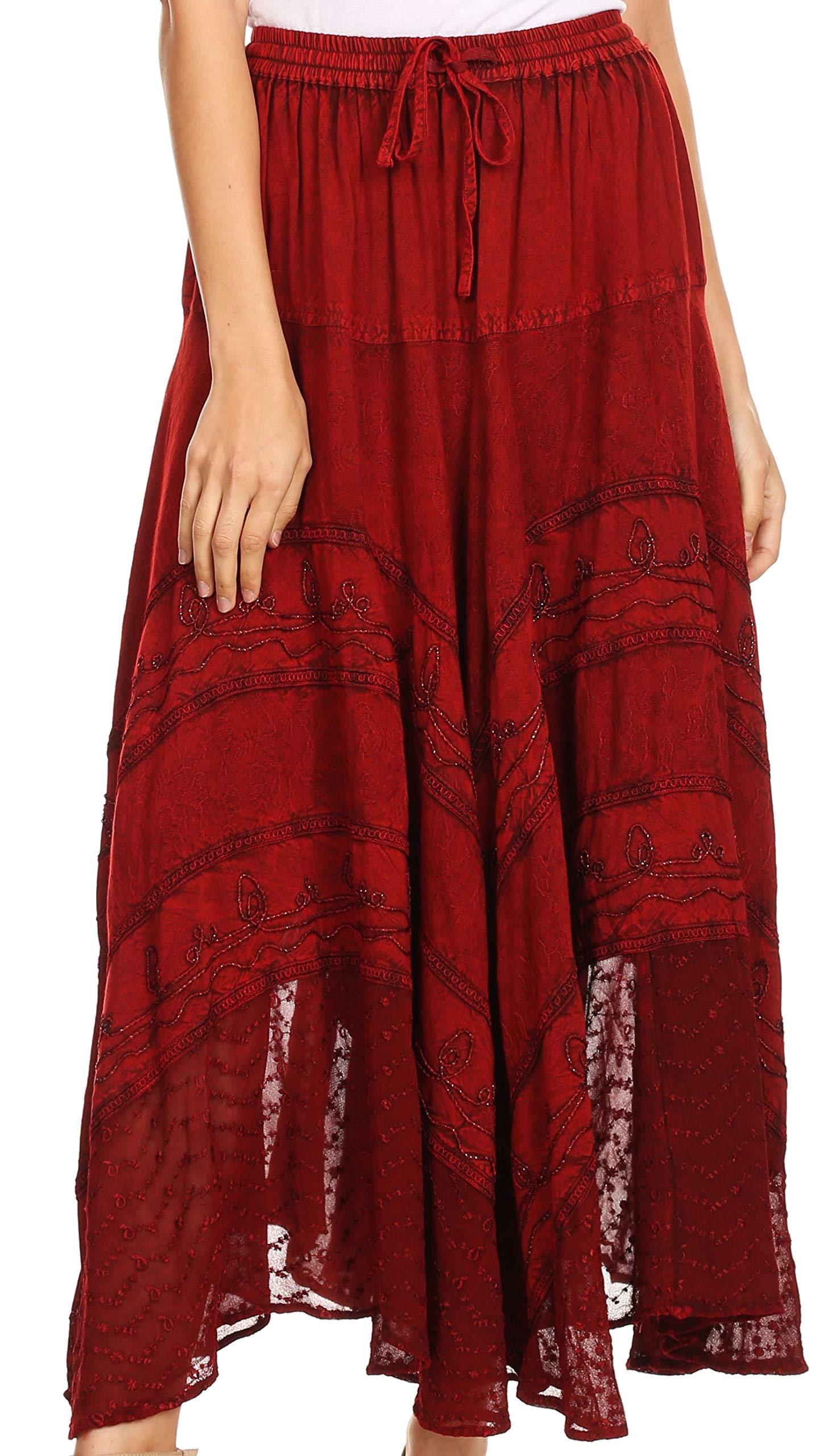 Sakkas 13222 Ivy Maiden Boho Skirt - Cayenne - One Size Regular