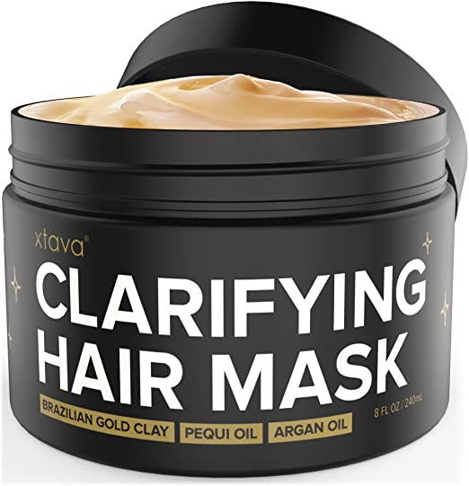 Xtava Clarifying Clay Hair Mask with Argan Oil 8 Fl.Oz - Repairing and Conditioning Hair Treatment for Damaged Hair and Oily - Overnight Hair Mask for Straight, Wavy, Curly and Natural Hair