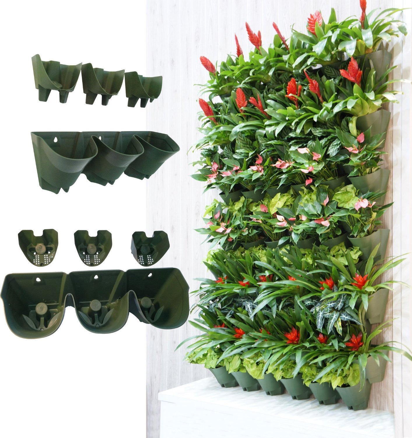 Self Watering Wall Mounted Vertical Planter,DIY Living Wall Flowerpot,Hanging Plants Holder,Indoor & Outdoor Decoration Planting Pot,One Set w/ 3-pockets and 5pc Filter Layer(14 sets per pack) by SHANGHAI WORTH