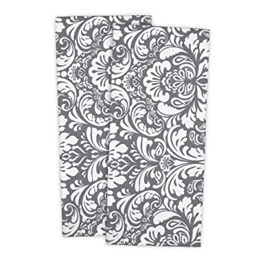 DII Cotton Damask Kitchen Dish Towels, 28 x 18  Set of 2, Low Lint Decorative Tea Towel for Everyday Cooking and Baking-Gray
