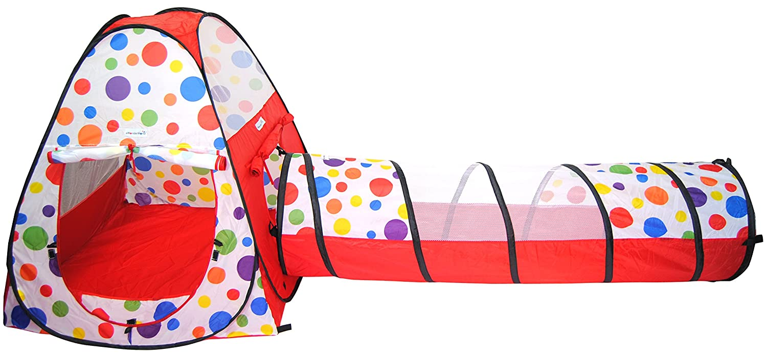 3c2b69829d522 Amazon.com  EWONDERWORLD Polka Dot Teepee Ball Tent House w  Tunnel    Safety Meshing for Child Play Visibilityl   Tote  2 Piece  Toys   Games