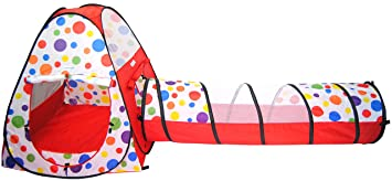 eWonderWorld Polka Dot Teepee Ball Tent House w/ Tunnel u0026 Safety Meshing for Child Play  sc 1 st  Amazon.com & Amazon.com: eWonderWorld Polka Dot Teepee Ball Tent House w ...