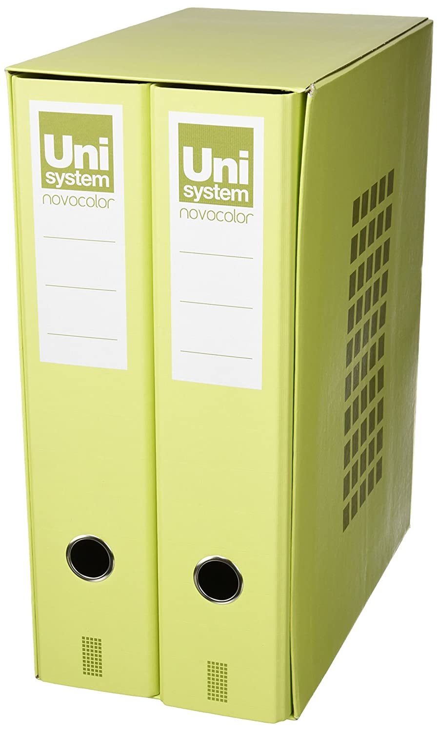 Unisystem 8412742777966 - Box de 2 archivadores folio, color amarillo: Amazon.es: Oficina y papelería