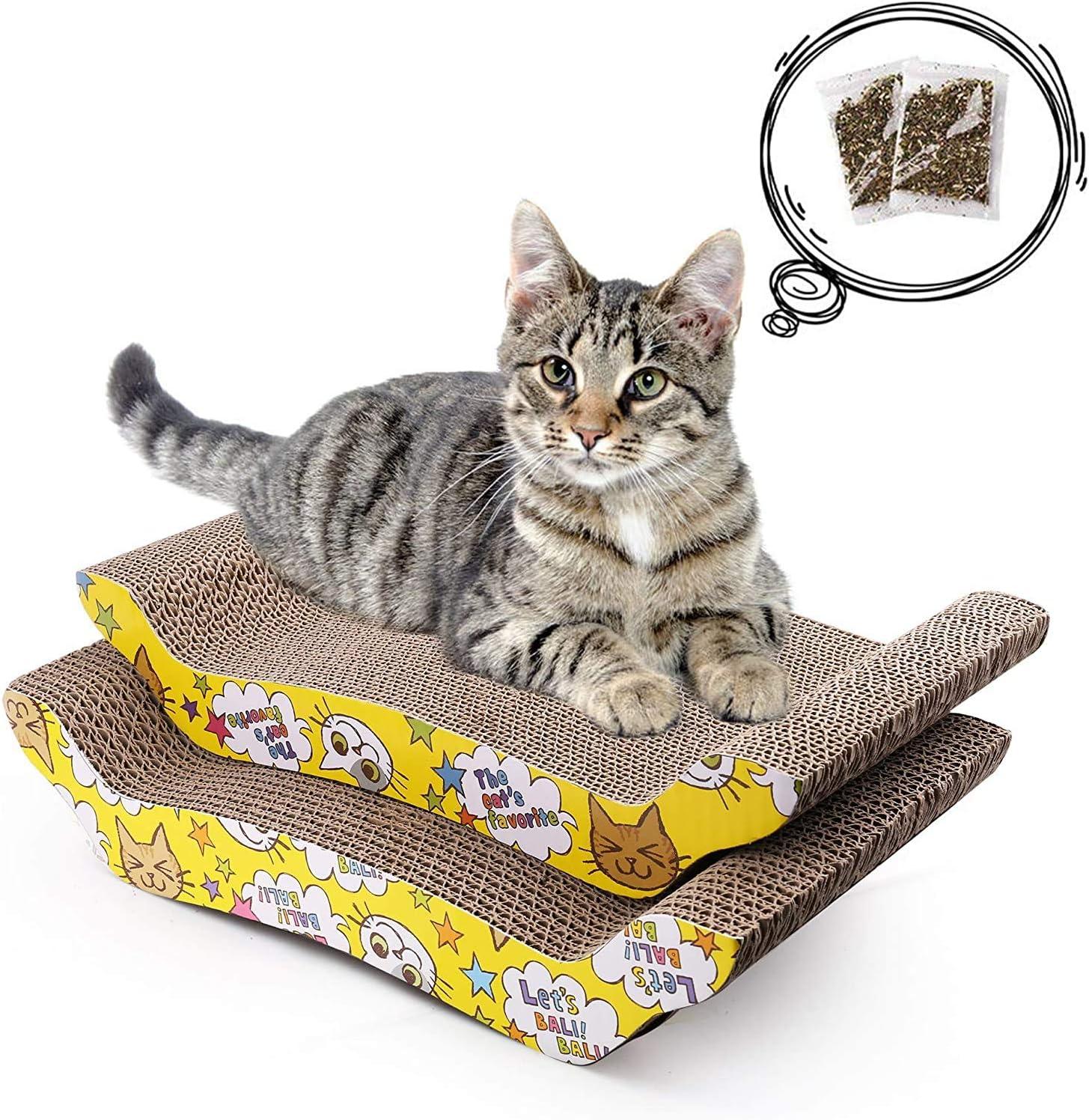 LotFancy 2PCS Rascadors para Gatos con Catnip para Cama y Sofá Almohadillas Rascadores para Gatos de Carton Reciclado Corrugado (20.5cm x 43cm)