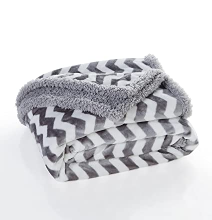 Amazon Super Soft Grey White Chevron Sherpa Throw Blanket Home Best Grey And White Throw Blanket