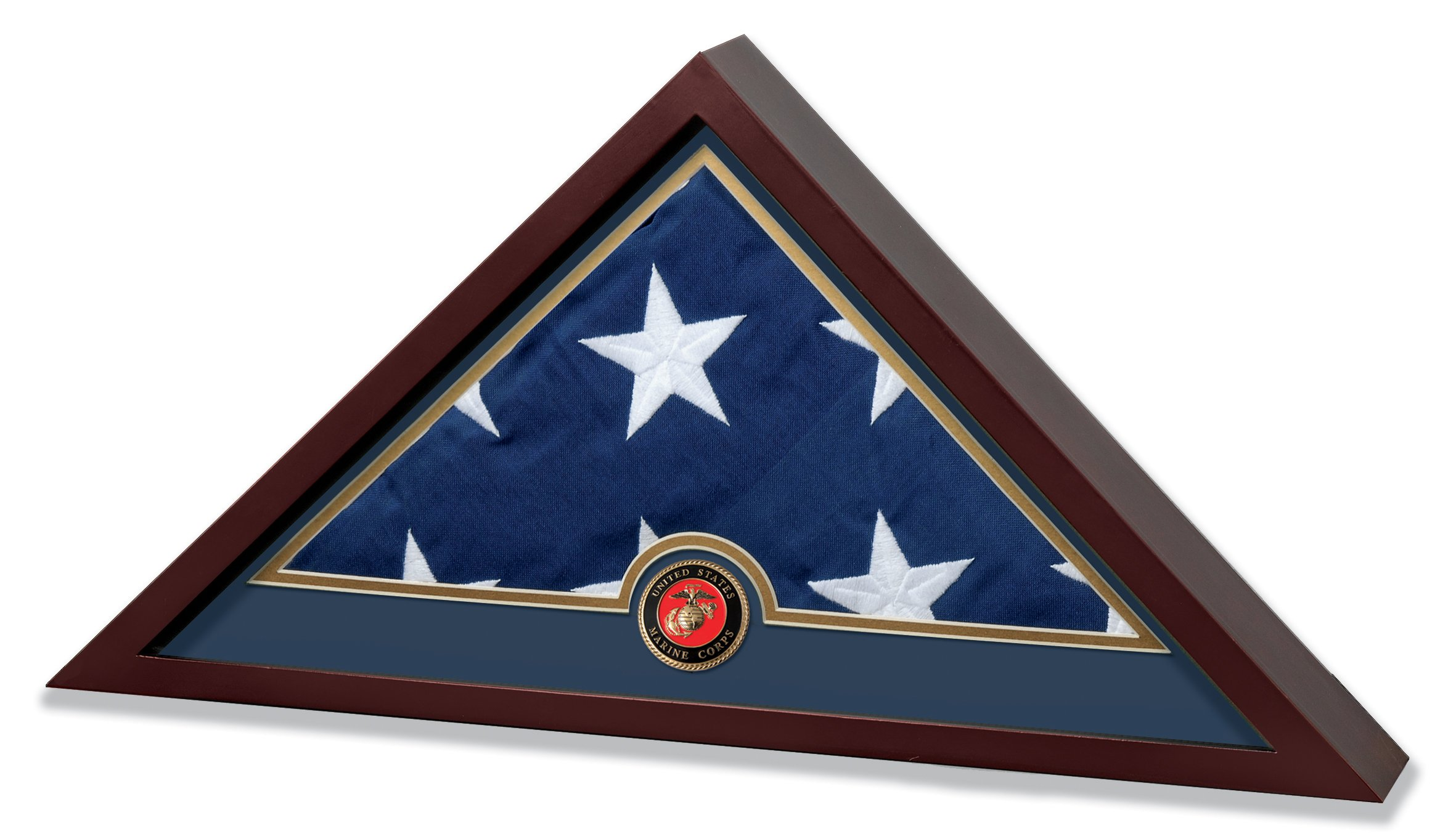 Allied Frame US Marine Corps Internment American Burial Flag Display Case with Official Marine Corps Medallion and US Internment Flag