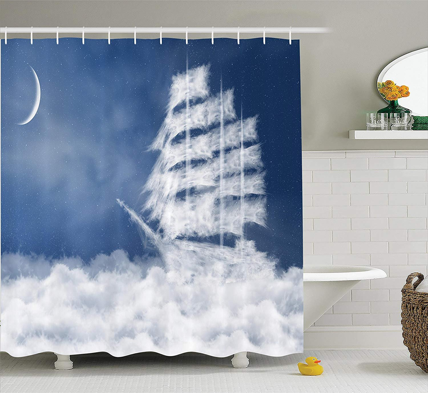 DIY Nautical Decor Shower Curtain Set, A Yacht in The Ocean Made and Shaped with Fluffy Clouds Atmospheric Imaginary Sky Print, Bathroom Curtain Home Decorations Machine Washable, 72 x 72 Inches