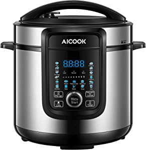 18-in-1 Electric Pressure Cooker, 6 Qt, Slow Cooker, Rice Cooker, Soup Maker, Steamer, Saute, Multi-Use Programs, 9 Accessories and Recipe Include
