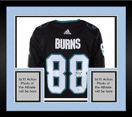 super popular 3a95c 7a622 Framed Brent Burns San Jose Sharks Autographed Black Adidas ...