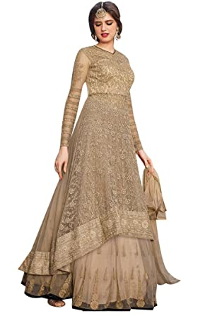 e9a6c2cd22 Justkartit Women'S Net Anarkali Dress Material (Jk4308_Beige_Free ...