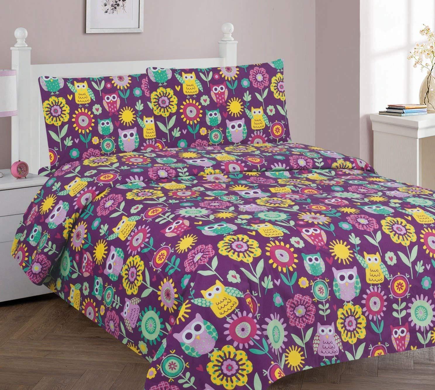 Golden linens Full Size 4 Pieces ( 1pc Flat Sheet, 1 Fitted Sheet & 2 pillow Case) Purple Owl Flower Printed New Designs Kids Bed Sheet Set# Owl Full Sheet