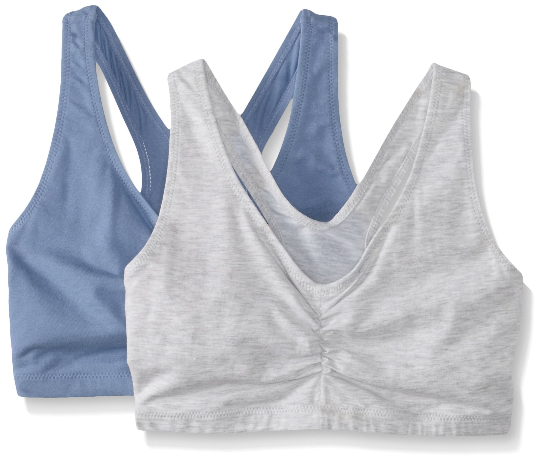 Hanes Women's Comfort-Blend Flex Fit Pullover Bra (Pack of 2),Heather Grey/Denim Blue Heather,Small