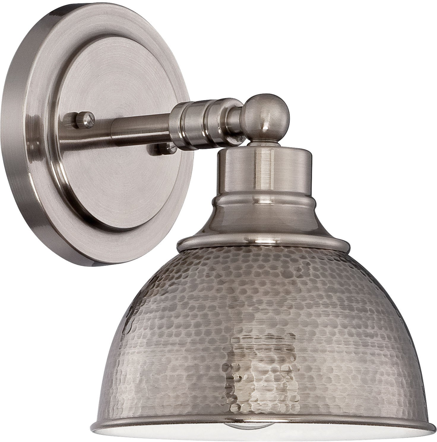Jeremiah 35901-AN, Timarron 100 Watt, 1 Light Nickel Wall Sconce with Hammered Metal