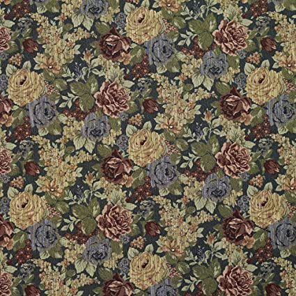 Amazon Com F925 Blue Red And Green Floral Tapestry Upholstery