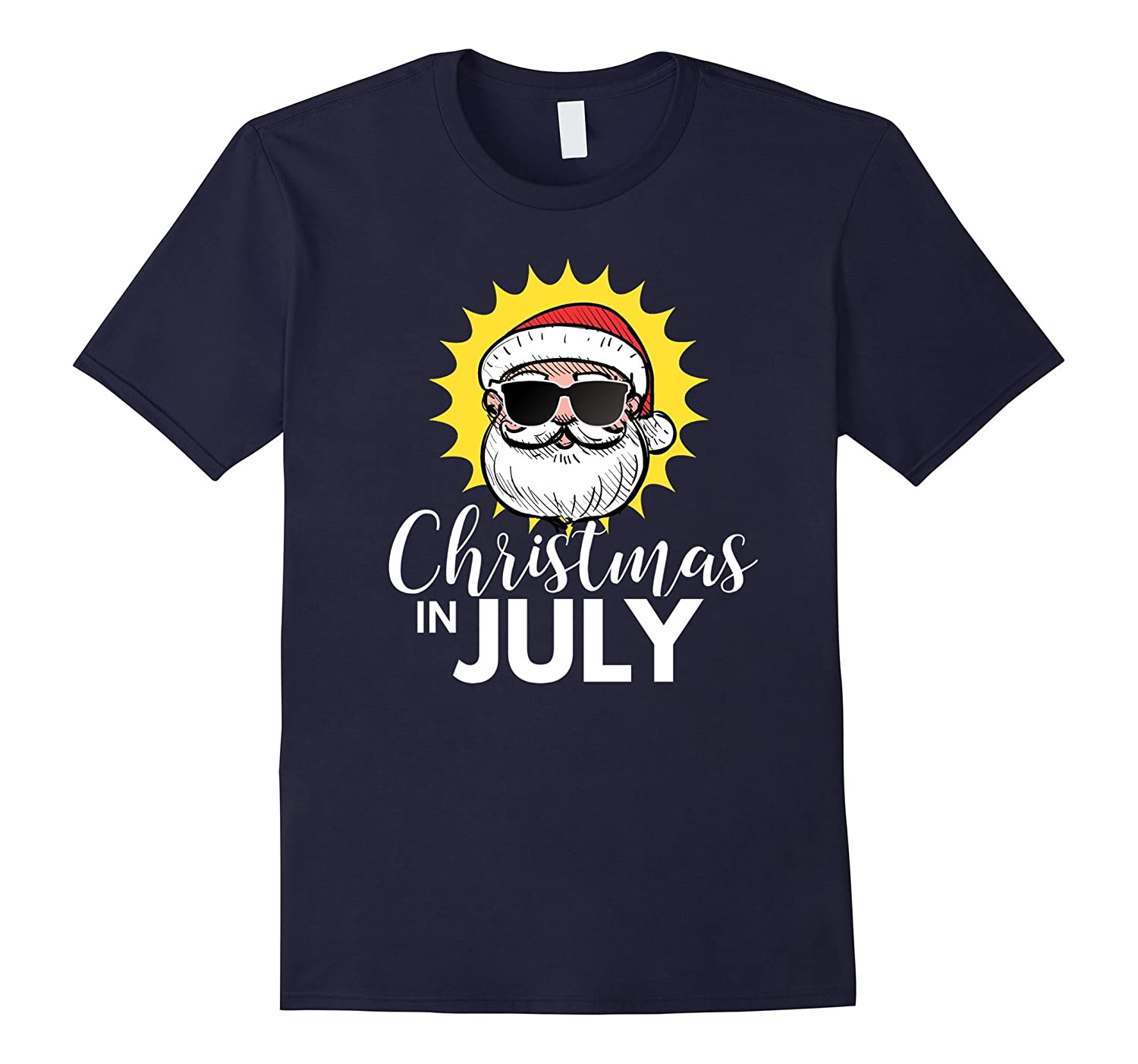 Christmas In July T Shirt - Santa Sunglasses-Art