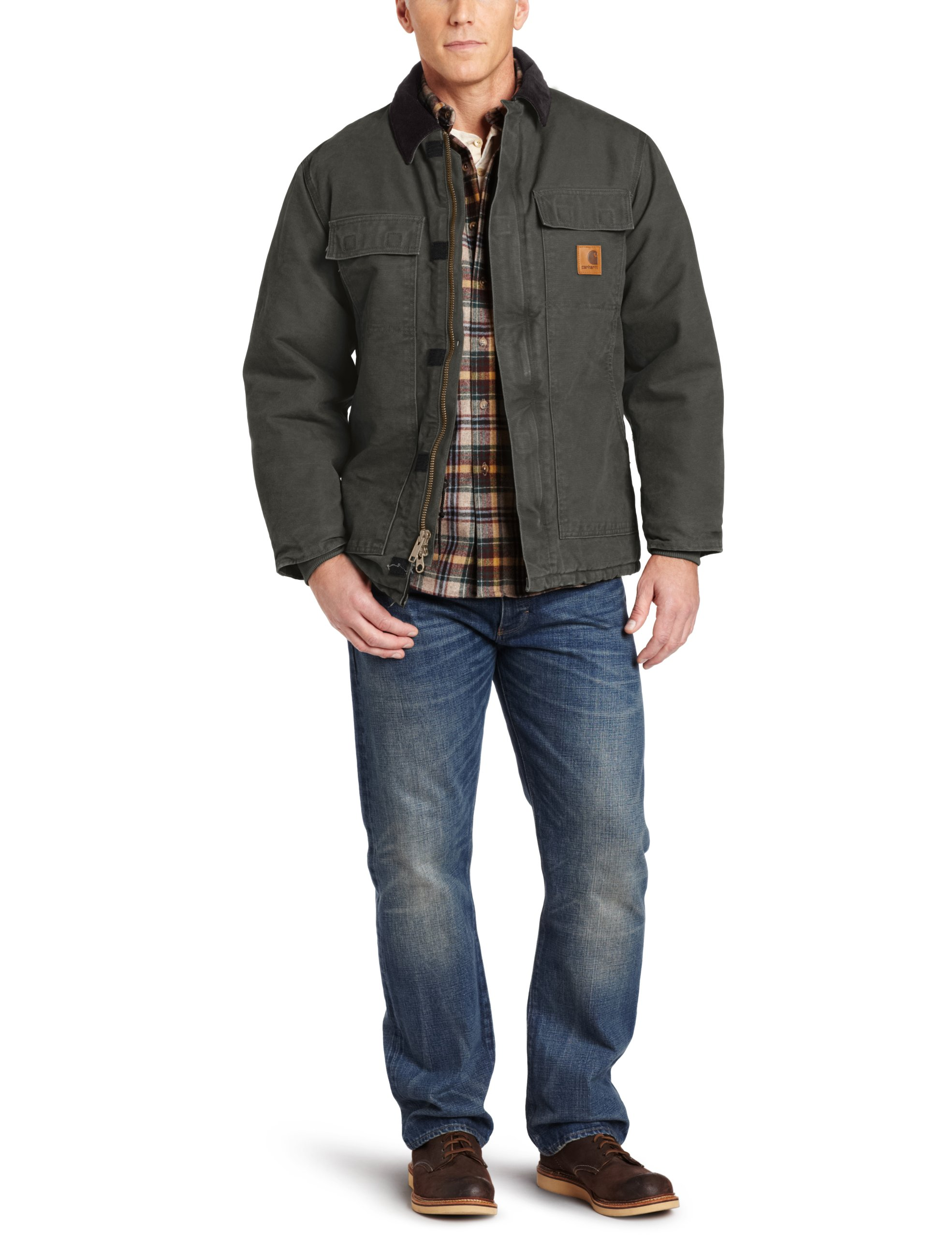 Carhartt Men's Big & Tall Arctic-Quilt Lined Sandstone Duck Traditional Coat C26,Moss,Medium Tall
