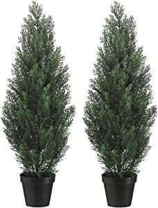 Set Of 2 Pre-potted 3 Foot Artificial Cedar Topiary Outdoor Indoor Trees