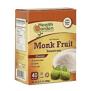 Health Garden Monk Fruit Sweetener, Classic - Non GMO - Gluten Free - Sugar Substitute - Kosher - Keto Friendly (40 Packets)