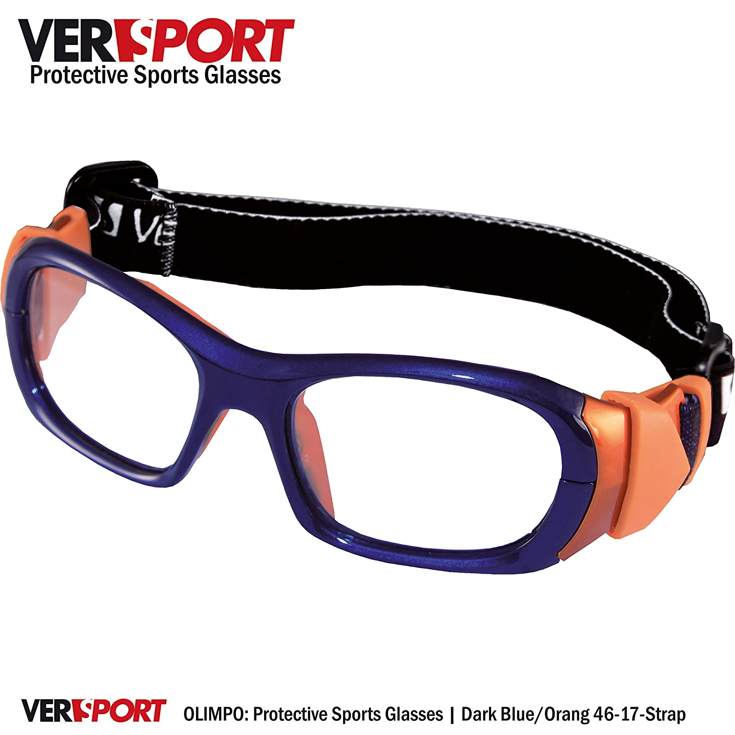 4295b8488cf Amazon.com  VERSPORT  OLIMPO 46 Protective Sports Glasses - Blue Orange