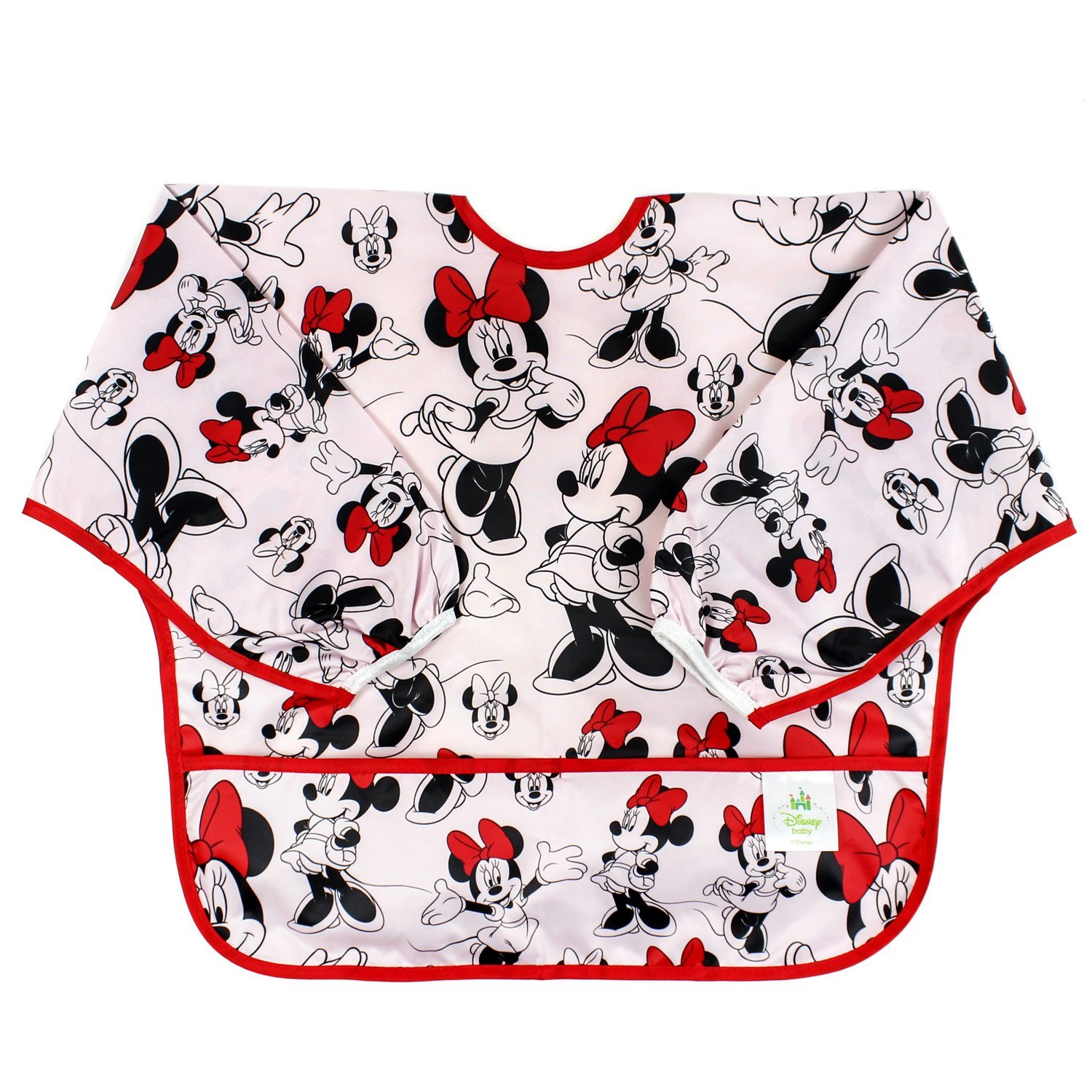 Bumkins Disney Minnie Mouse Sleeved Bib / Baby Bib / Toddler Bib / Smock, Waterproof, Washable, Stain and Odor Resistant , 6-24 Months - Classic by Bumkins