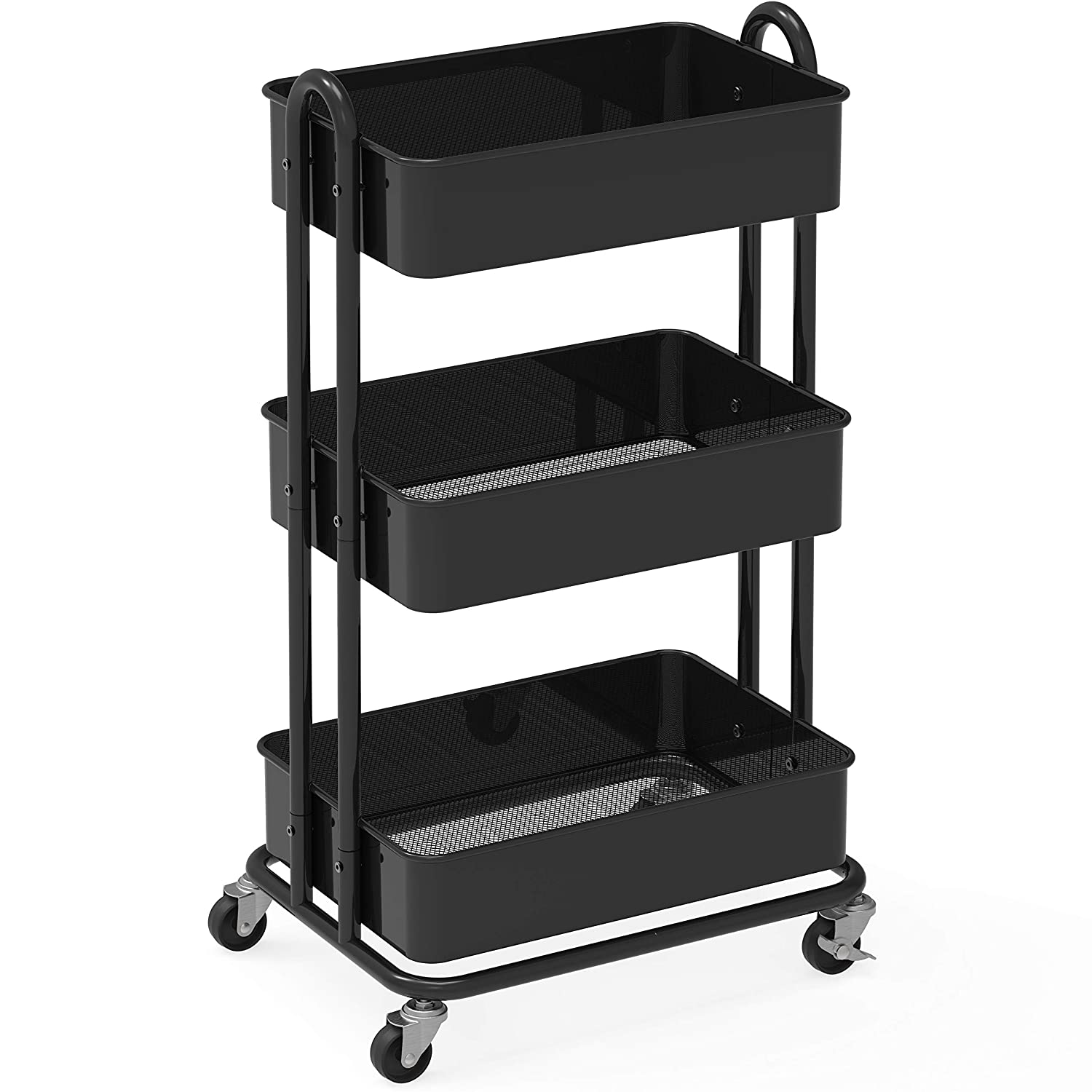 SimpleHouseware Heavy Duty 3-Tier Metal Utility Rolling Cart, Black
