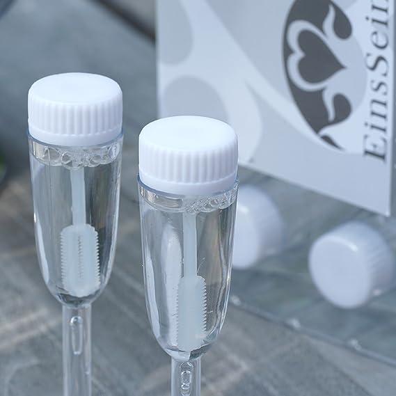 EinsSein 24x Bulles de Savon Mariage vitre Box Blanc Bulle pour Flacon Deco Coeur champ/être Enfant Anniversaire Cadeau invites Confirmation Anniversaire Transparente Plastique Tube /à de Table Tubes