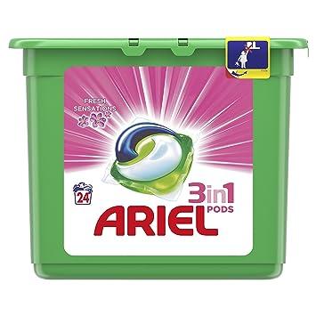 Ariel 3en1 Pods Detergente En Cápsulas, Sensaciones, Limpieza Increíble, Limpia, Quita Manchas, Ilumina - 24 Lavados: Amazon.es: Amazon Pantry